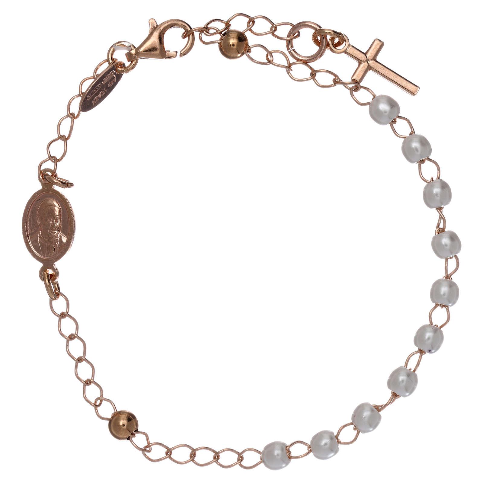 Pulsera rosario AMEN cruz charm perlas plata 925 acabado rosado 4