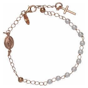 Pulsera rosario AMEN cruz charm perlas plata 925 acabado rosado s1