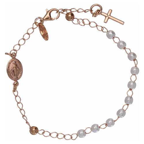 Pulsera rosario AMEN cruz charm perlas plata 925 acabado rosado 1