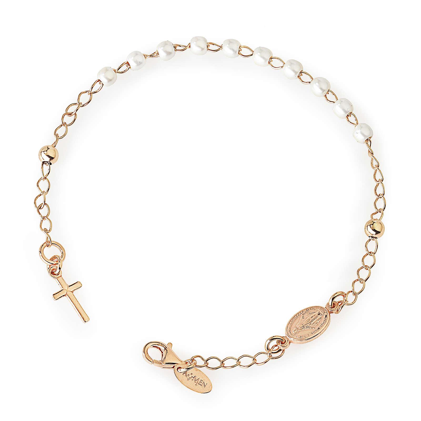 Bracciale rosario AMEN croce charm perle arg 925 fin. Rosè 4