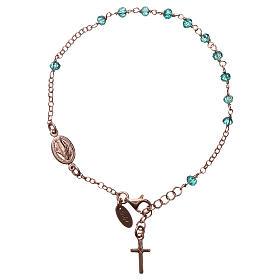 Bracciale rosario AMEN croce charm crist verdi arg 925 fin. Rosè s1