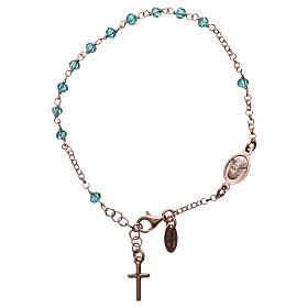Bracciale rosario AMEN croce charm crist verdi arg 925 fin. Rosè s2