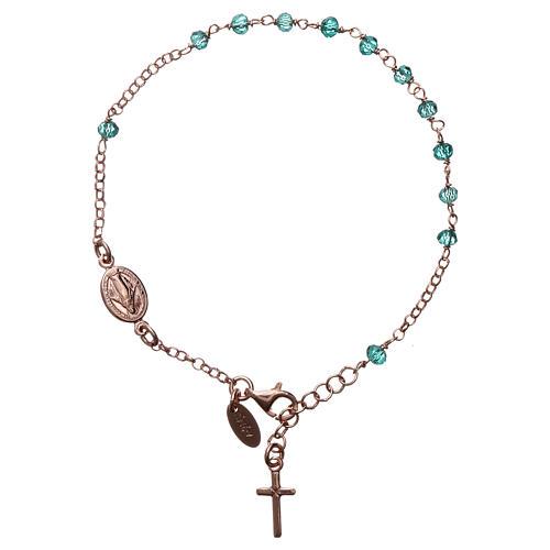 Bracciale rosario AMEN croce charm crist verdi arg 925 fin. Rosè 1