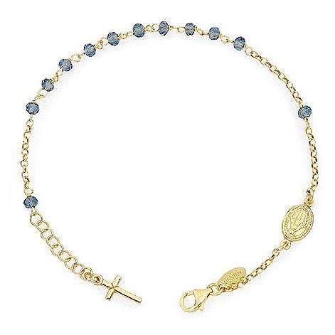 Bracciale rosario AMEN croce charm crist verdi arg 925 fin. Giallo 1