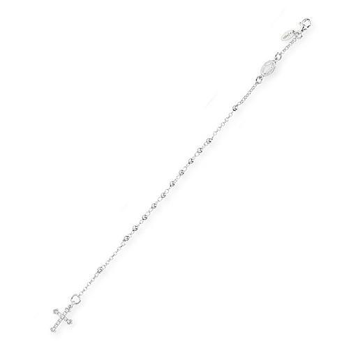 Bracelet chapelet AMEN croix charm pavé arg 925 rhodié 1