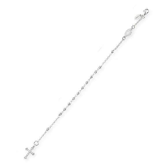 Rosary AMEN Bracelet Charm Cross Pavè silver 925, Rhodium finish 4