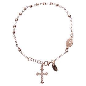 Pulsera rosario AMEN cruz charm plata 925 acabado rosado s1