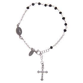 AMEN bracelets: Rosary AMEN Bracelet Charm Cross Pavè black crystals silver 925, Rhodium
