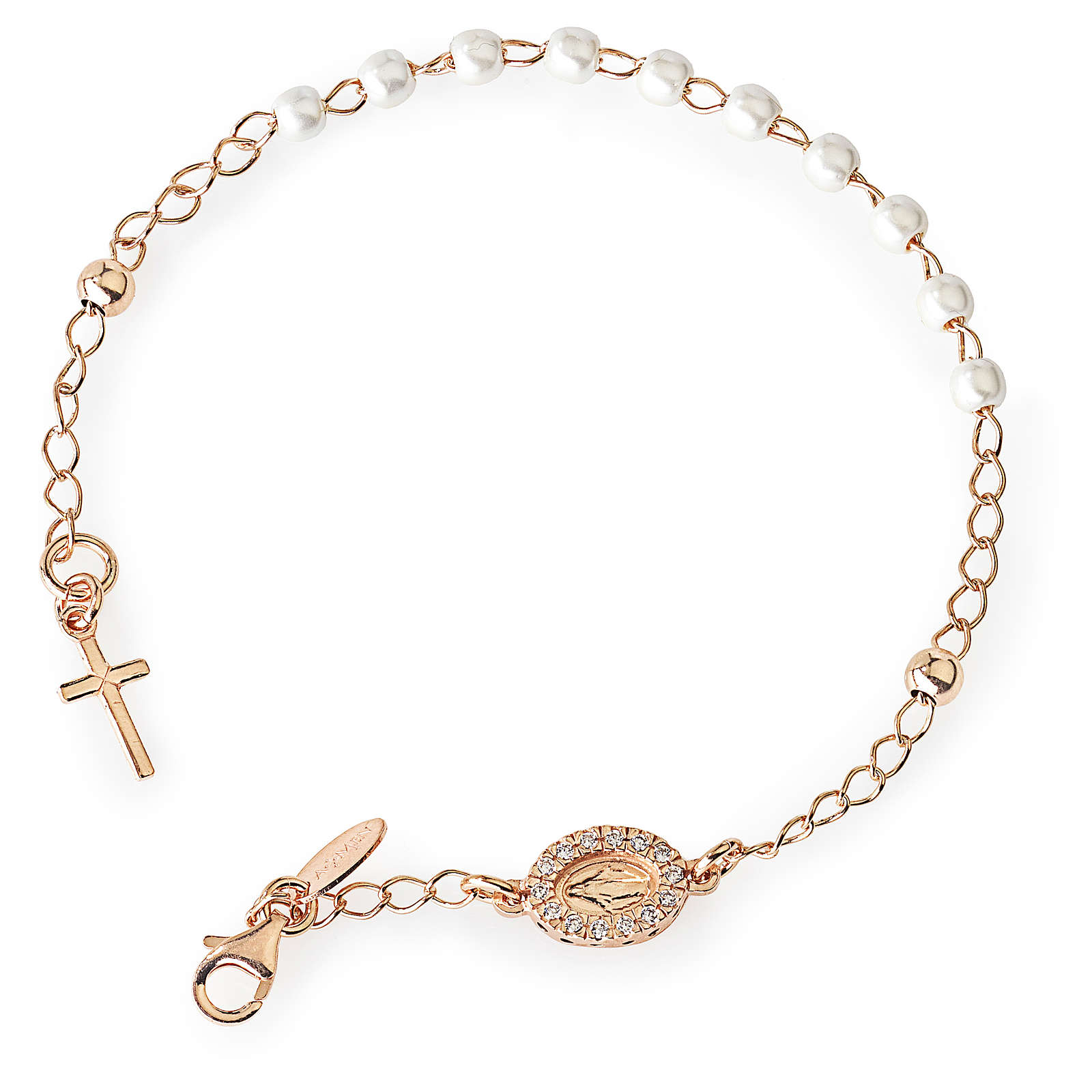 Rosary AMEN Bracelet Charm Cross Pavè miraculous pearls, Rosè 4
