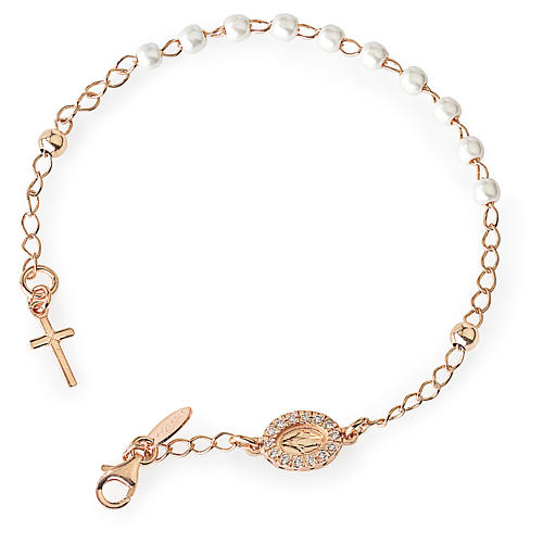 Rosary AMEN Bracelet Charm Cross Pavè miraculous pearls, Rosè 1