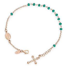 Bracciale rosario AMEN croce charm pavè crist verdi arg. Rosè s1