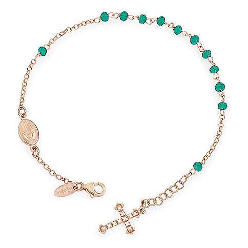 Bracciale rosario AMEN croce charm pavè crist verdi arg. Rosè 1