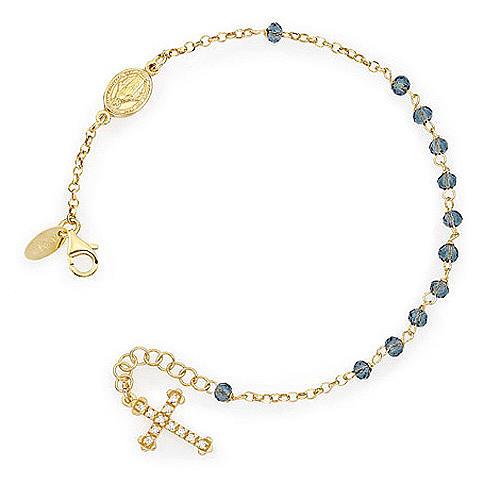 Bracciale rosario AMEN croce charm pavè crist verdi arg. Giallo 1