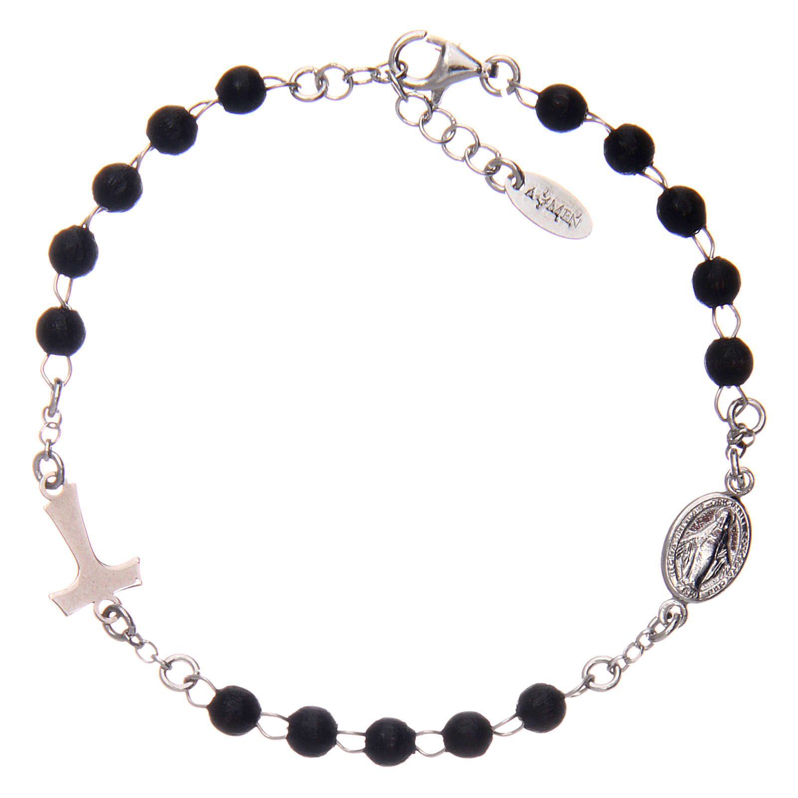 Bracelet AMEN Tau chapelet argent 925 bois noir 4