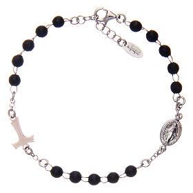 Bracelet AMEN Tau chapelet argent 925 bois noir s2