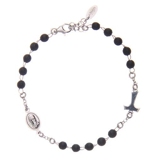 Bracelet AMEN Tau chapelet argent 925 bois noir 1