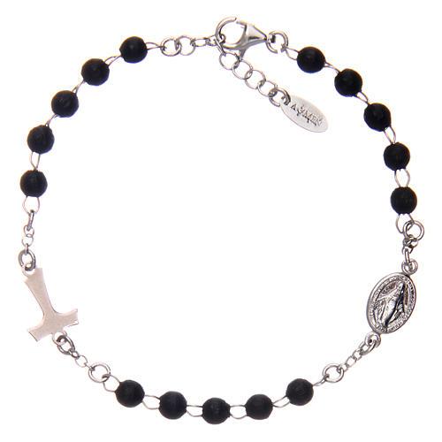 Bracelet AMEN Tau chapelet argent 925 bois noir 2