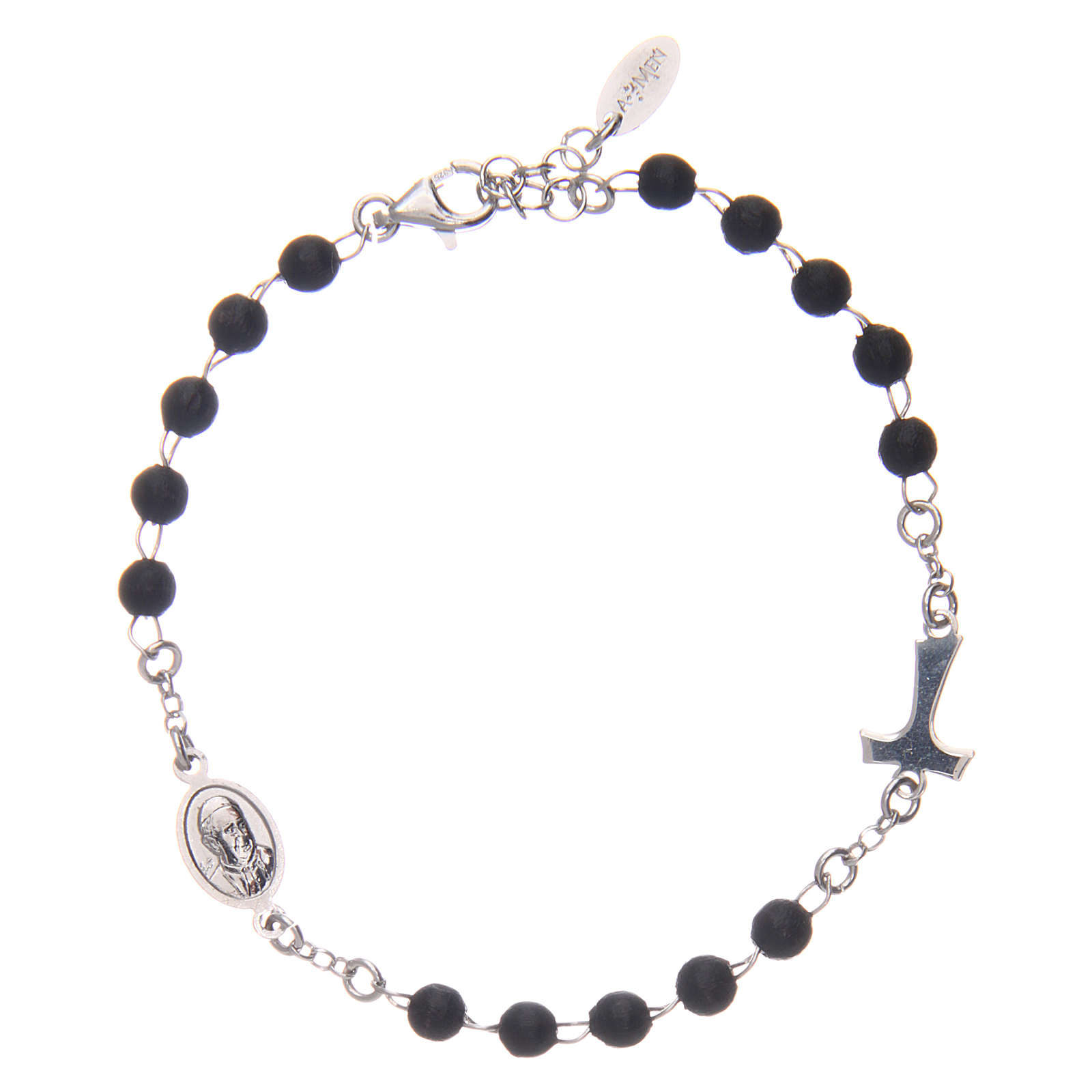 Sterling silver bracelet with tau and black wood pearls AMEN 4
