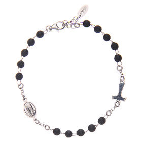 Sterling silver bracelet with tau and black wood pearls AMEN s1