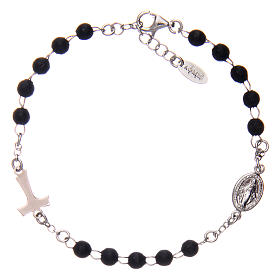 Sterling silver bracelet with tau and black wood pearls AMEN s2