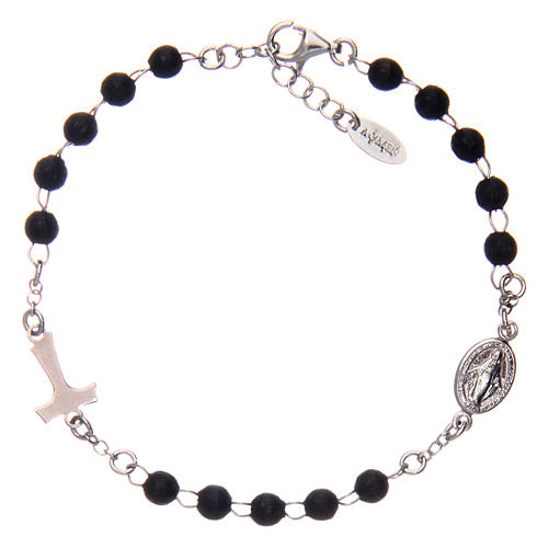 Sterling silver bracelet with tau and black wood pearls AMEN 2