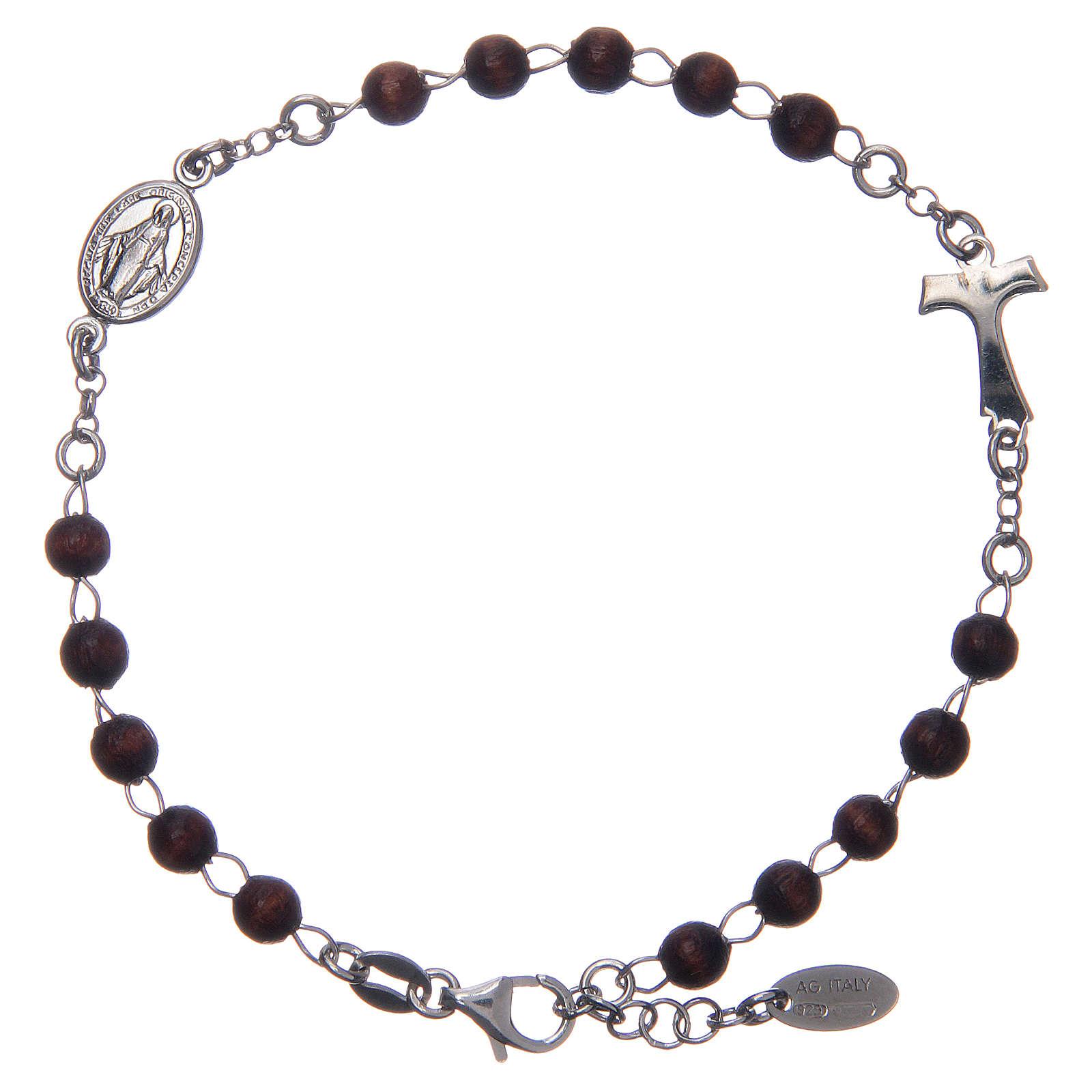 Bracciale rosario AMEN Tau argento 925 legno Marrone 4