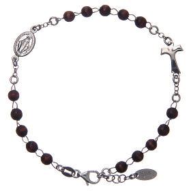 Bracciale rosario AMEN Tau argento 925 legno Marrone s1