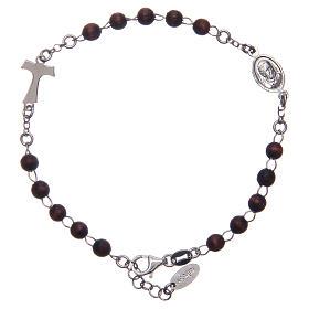Bracciale rosario AMEN Tau argento 925 legno Marrone s2
