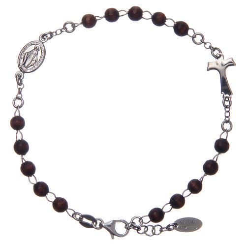 Bracciale rosario AMEN Tau argento 925 legno Marrone 1