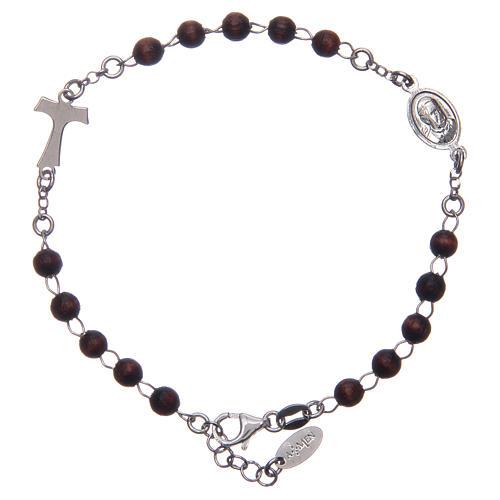 Bracciale rosario AMEN Tau argento 925 legno Marrone 2