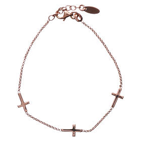 Bracelet AMEN Croix argent 925 fin. rosée s1