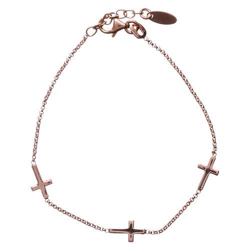 Bracelet AMEN Croix argent 925 fin. rosée 1
