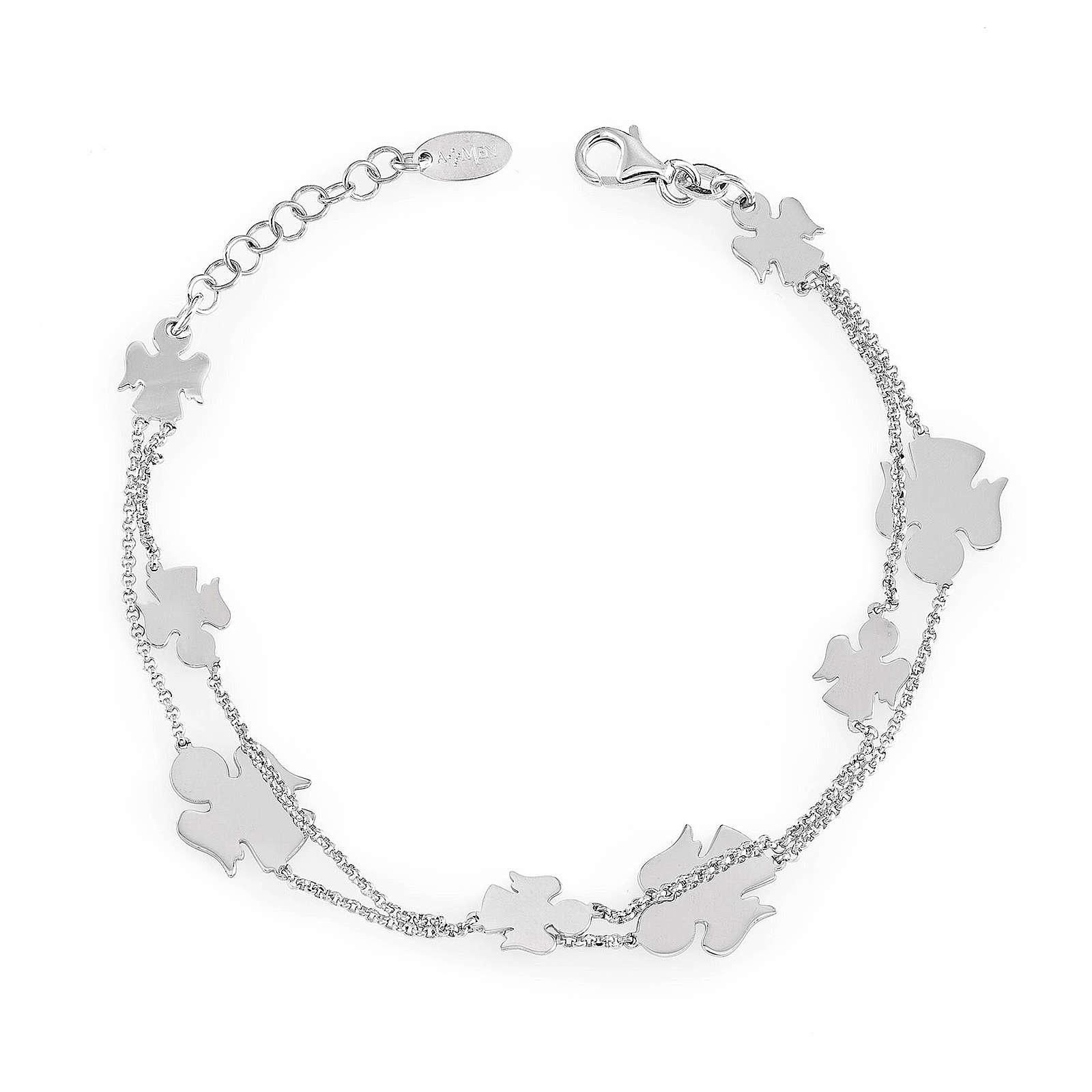 AMEN Bracelet double chain Angels silver 925 Rhodium finish 4