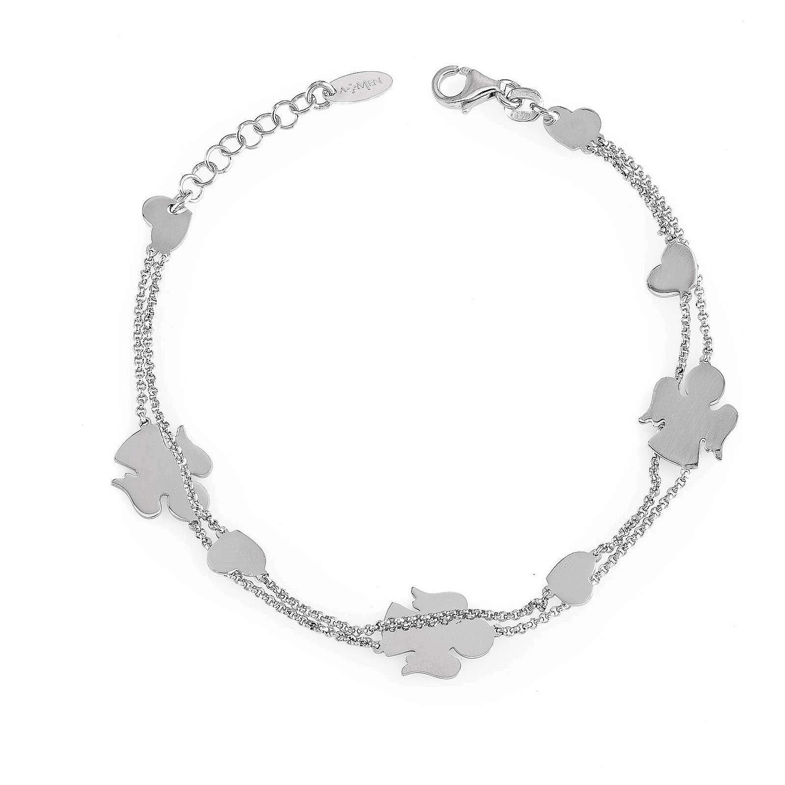 AMEN Bracelet double chain Angels & Hearts silver 925 Rhodium finish 4