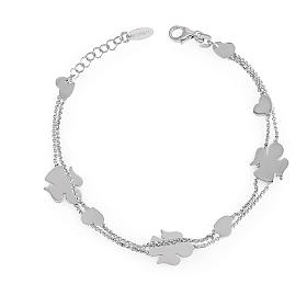 AMEN Bracelet double chain Angels & Hearts silver 925 Rhodium finish s1