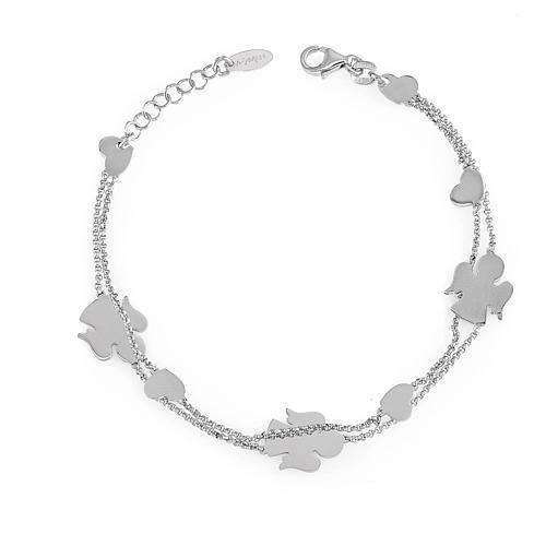 AMEN Bracelet double chain Angels & Hearts silver 925 Rhodium finish 1