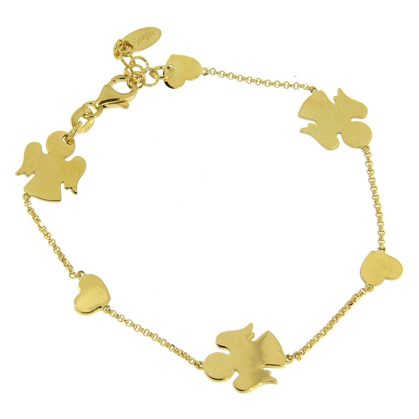 AMEN Bracelet Angels & Hearts silver 925 Gold finish 4