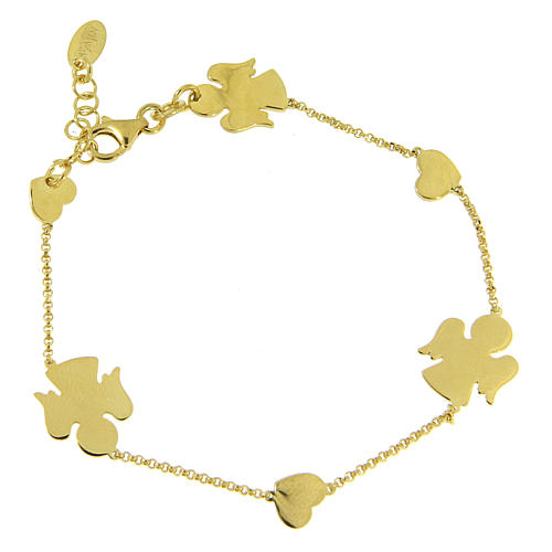 AMEN Bracelet Angels & Hearts silver 925 Gold finish 1