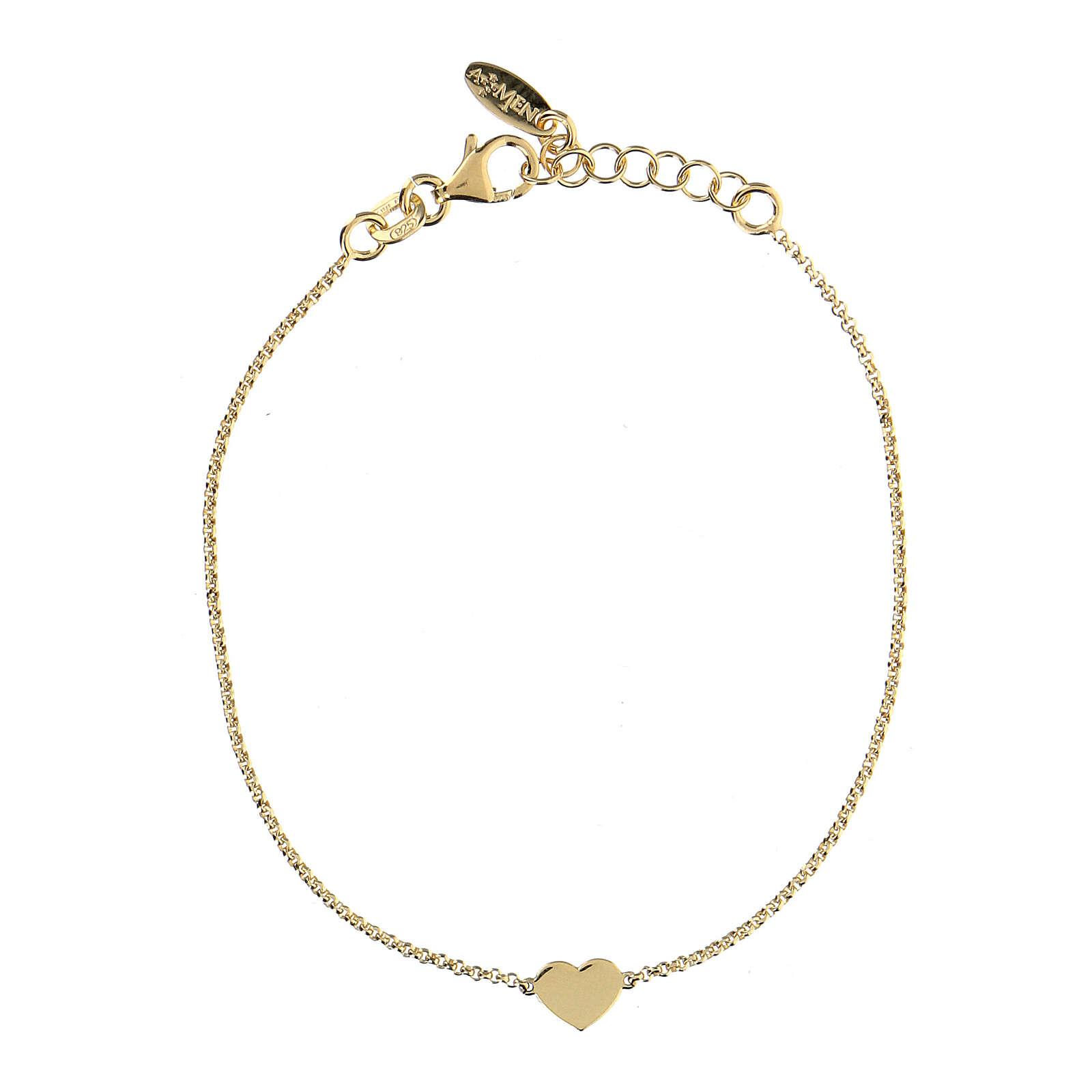 Bracelet AMEN coeur argent 925 fin. or 4