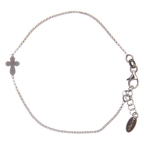 Bracciale AMEN Croce tonda argento 925 fin. Rodio 1