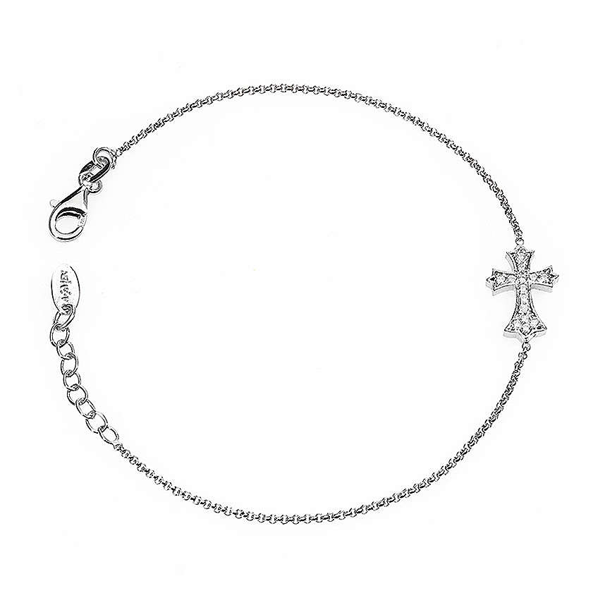 Bracelet AMEN spiky Cross silver 925 rhinestones, Rhodium finish 4