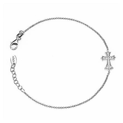 Bracelet AMEN croix pointe argent 925 zircons fin. rhodium 1