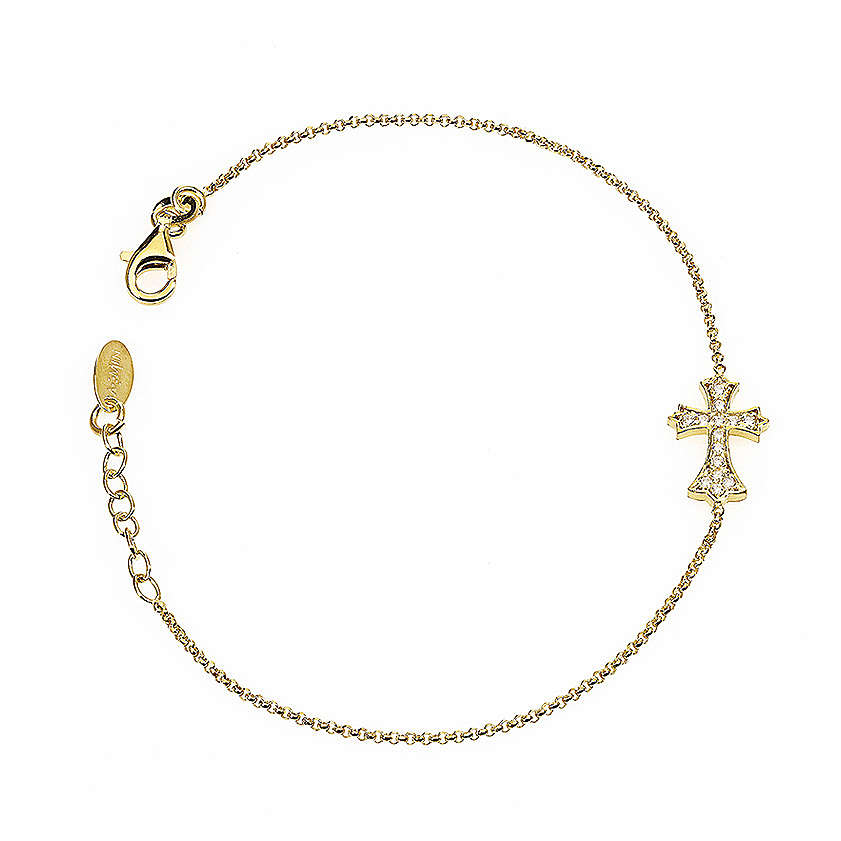 Bracelet AMEN spiky Cross silver 925 rhinestones, Gold finish 4