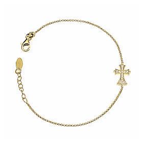 Bracelet AMEN spiky Cross silver 925 rhinestones, Gold finish s1