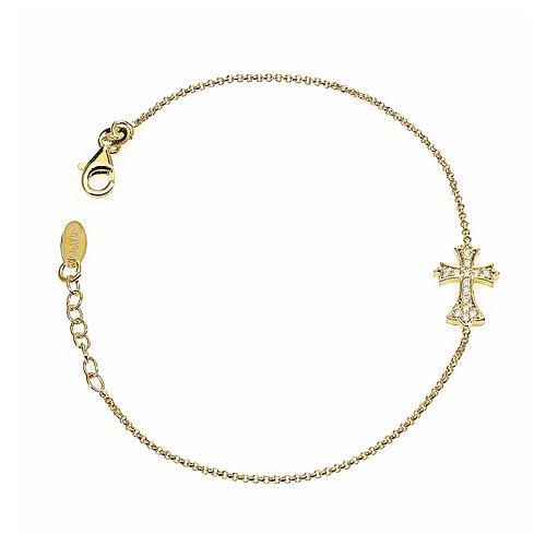 Bracelet AMEN spiky Cross silver 925 rhinestones, Gold finish 1