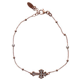 Bracciale AMEN Croce argento 925 madreperla bianca fin. Rosè s1