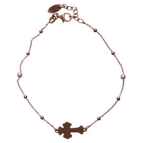 Bracciale AMEN Croce argento 925 madreperla bianca fin. Rosè s2