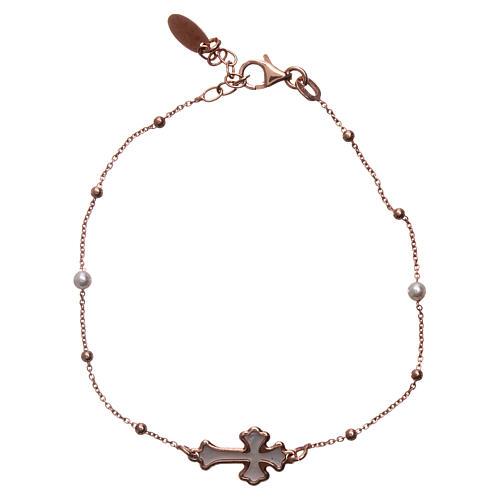 Bracciale AMEN Croce argento 925 madreperla bianca fin. Rosè 1