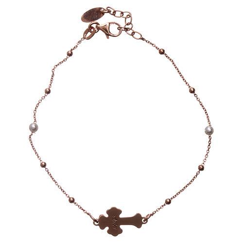Bracciale AMEN Croce argento 925 madreperla bianca fin. Rosè 2