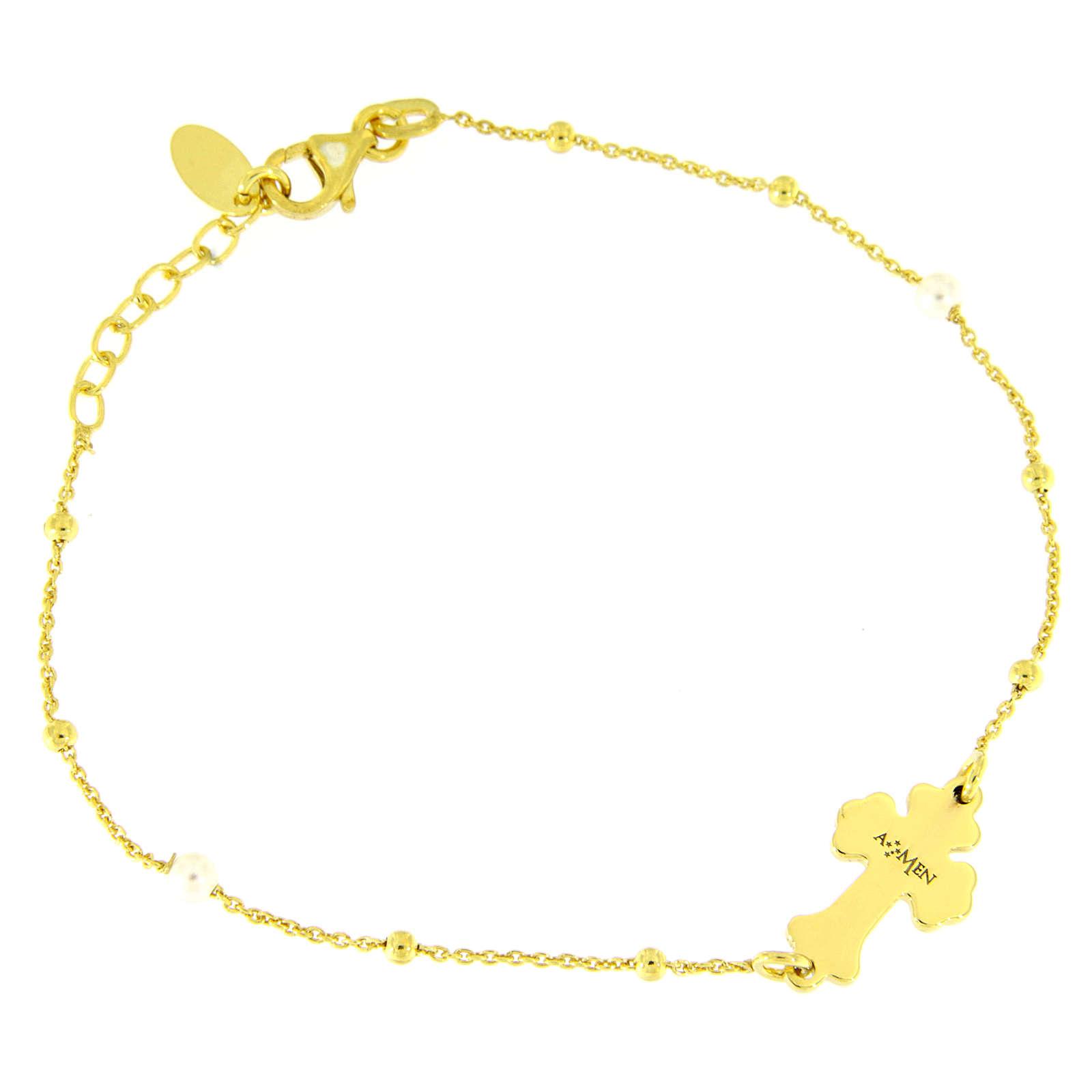 Pulsera AMEN Cruz plata 925 nácar blanco acabado dorado 4